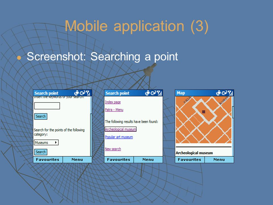 Mobile application (3) Screenshot: Searching a point
