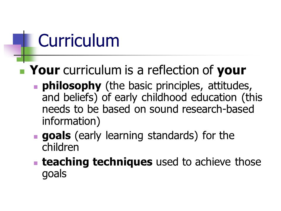 Curriculum Your curriculum is a reflection of your philosophy (the basic principles, attitudes, and beliefs) of early childhood education (this needs to be based on sound research-based information) goals (early learning standards) for the children teaching techniques used to achieve those goals