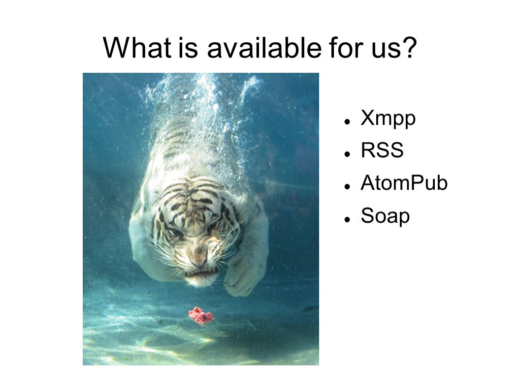 What is available for us Xmpp RSS AtomPub Soap
