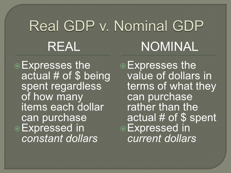 REALNOMINAL Expresses the actual # of $ being spent regardless of how many items each dollar can purchase Expressed in constant dollars Expresses the value of dollars in terms of what they can purchase rather than the actual # of $ spent Expressed in current dollars