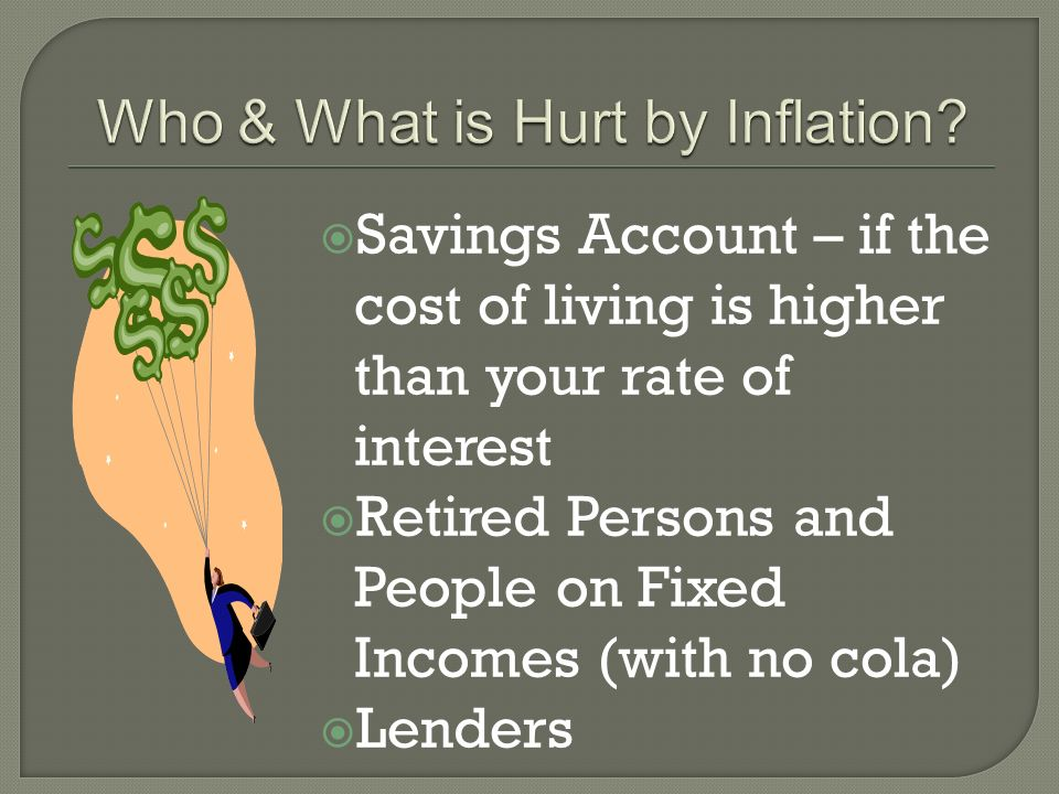 Savings Account – if the cost of living is higher than your rate of interest Retired Persons and People on Fixed Incomes (with no cola) Lenders