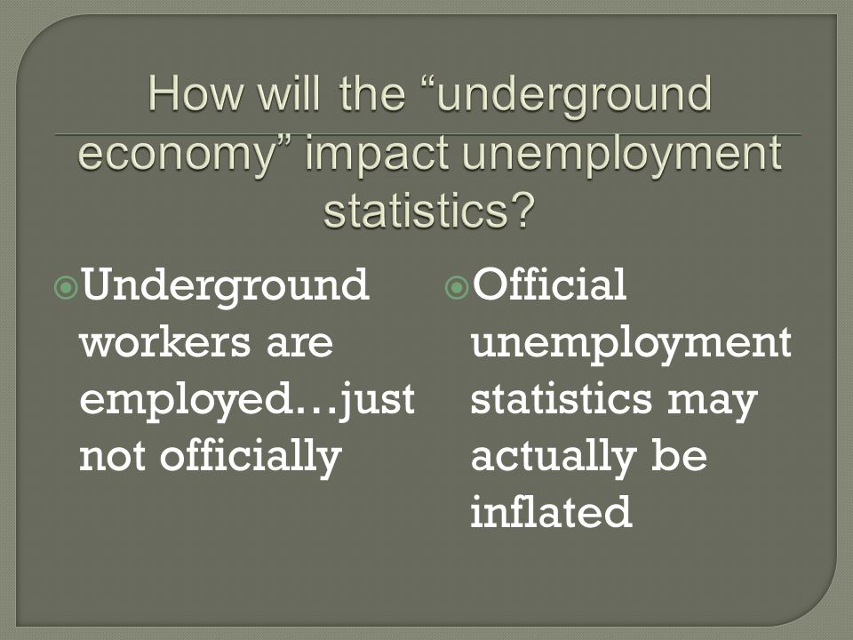 Underground workers are employed…just not officially Official unemployment statistics may actually be inflated