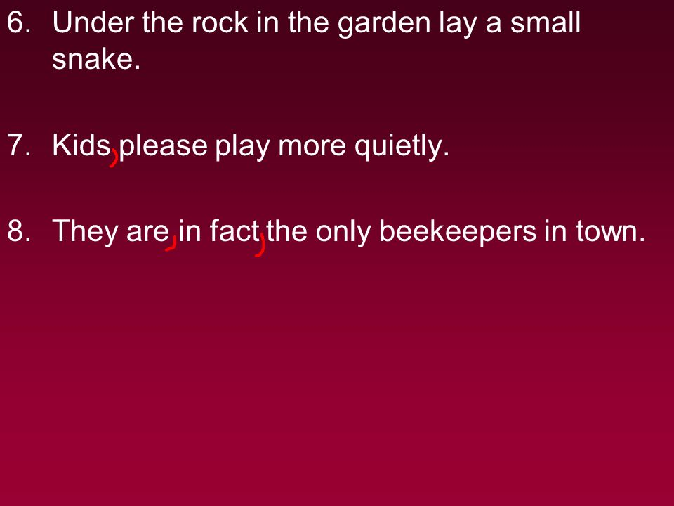6.Under the rock in the garden lay a small snake. 7.Kids please play more quietly.
