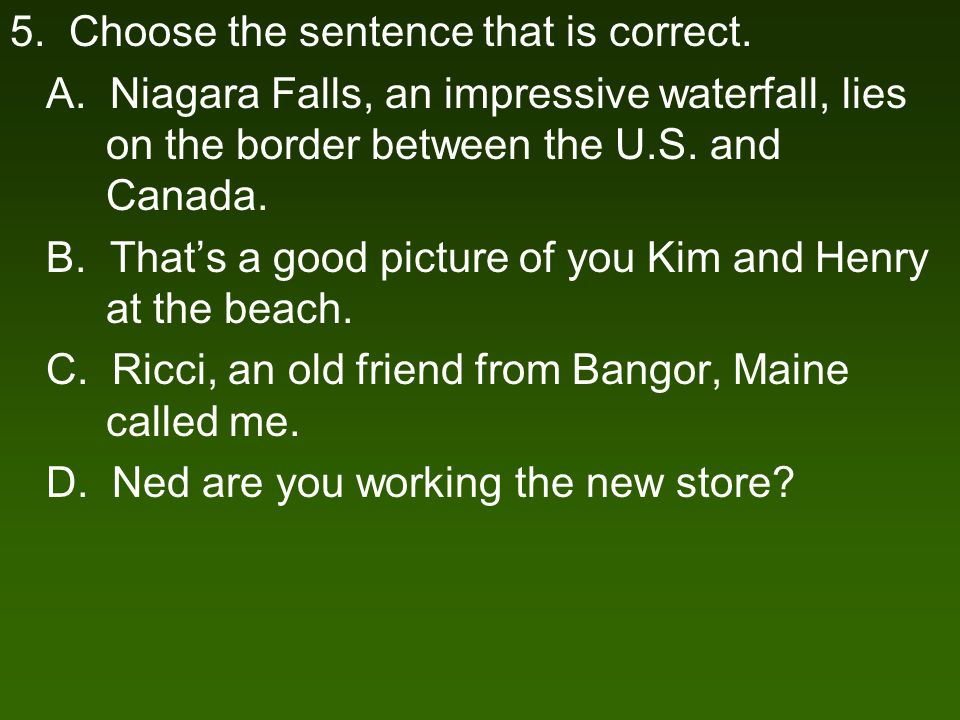 5. Choose the sentence that is correct. A.