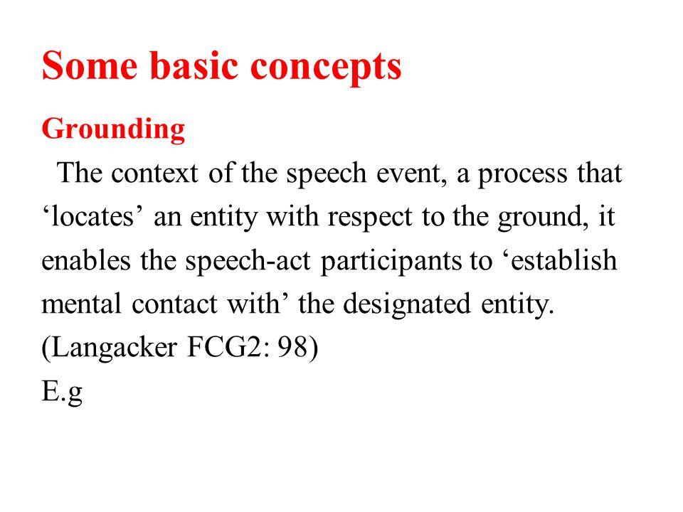 Some basic concepts Grounding The context of the speech event, a process that locates an entity with respect to the ground, it enables the speech-act participants to establish mental contact with the designated entity.