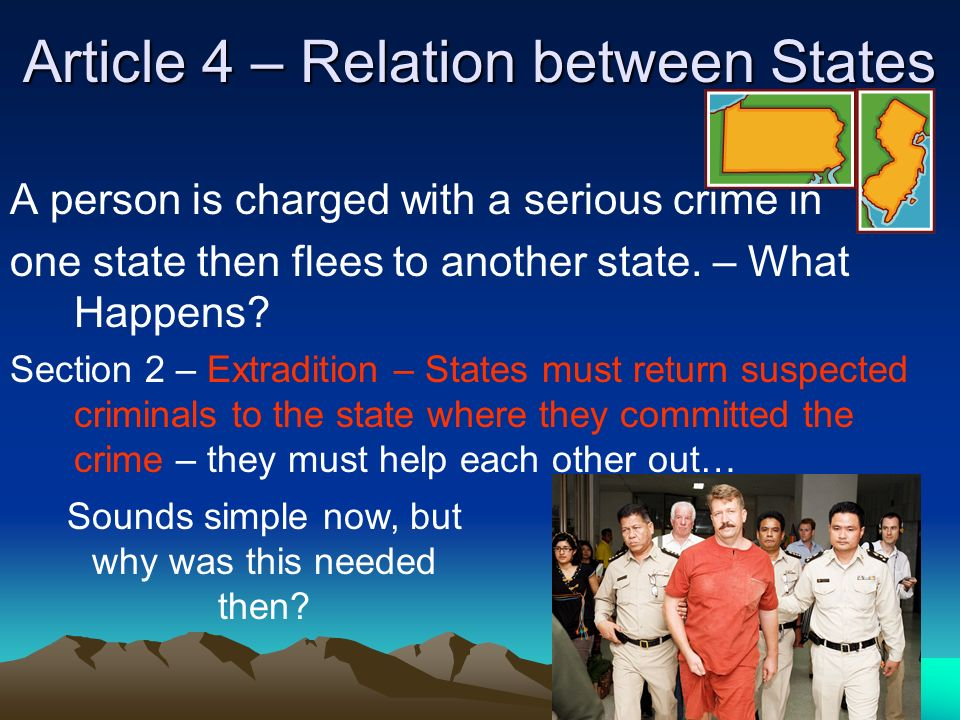 Article 4 – Relation between States A person is charged with a serious crime in one state then flees to another state.