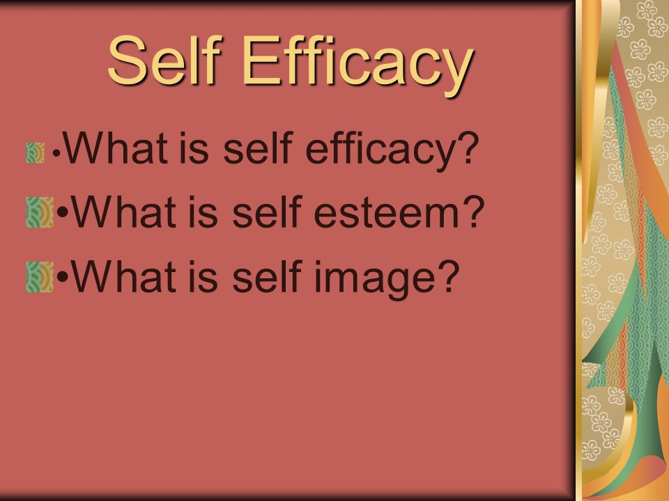 Self Efficacy What is self efficacy What is self esteem What is self image