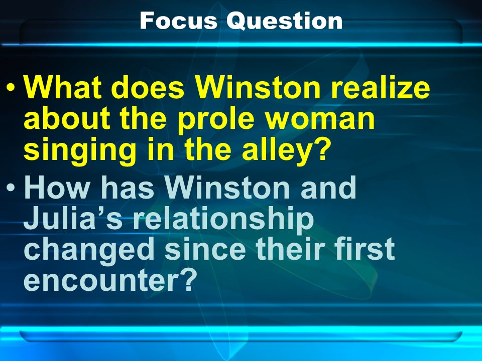 Focus Question What does Winston realize about the prole woman singing in the alley.
