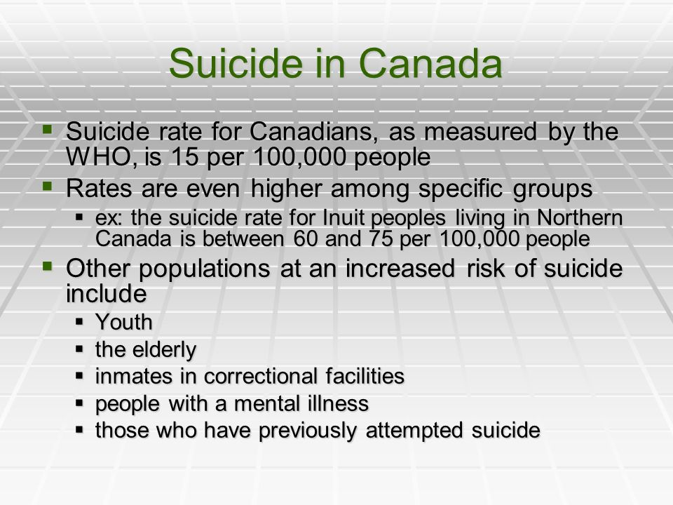 Suicide in Canada Suicide rate for Canadians, as measured by the WHO, is 15 per 100,000 people Suicide rate for Canadians, as measured by the WHO, is 15 per 100,000 people Rates are even higher among specific groups Rates are even higher among specific groups ex: the suicide rate for Inuit peoples living in Northern Canada is between 60 and 75 per 100,000 people ex: the suicide rate for Inuit peoples living in Northern Canada is between 60 and 75 per 100,000 people Other populations at an increased risk of suicide include Other populations at an increased risk of suicide include Youth Youth the elderly the elderly inmates in correctional facilities inmates in correctional facilities people with a mental illness people with a mental illness those who have previously attempted suicide those who have previously attempted suicide