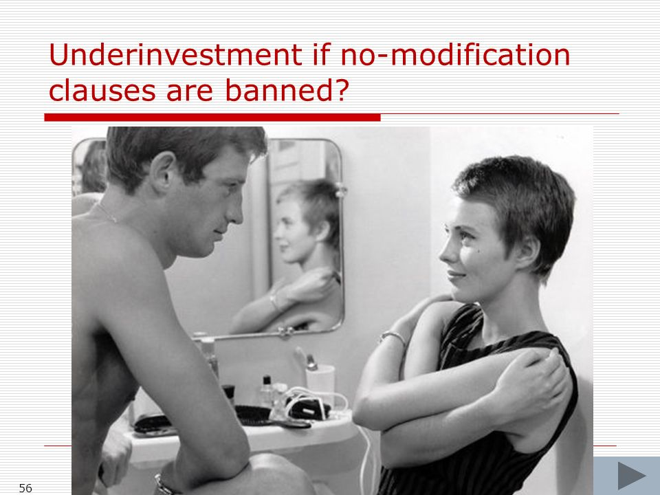 Underinvestment if no-modification clauses are banned 56
