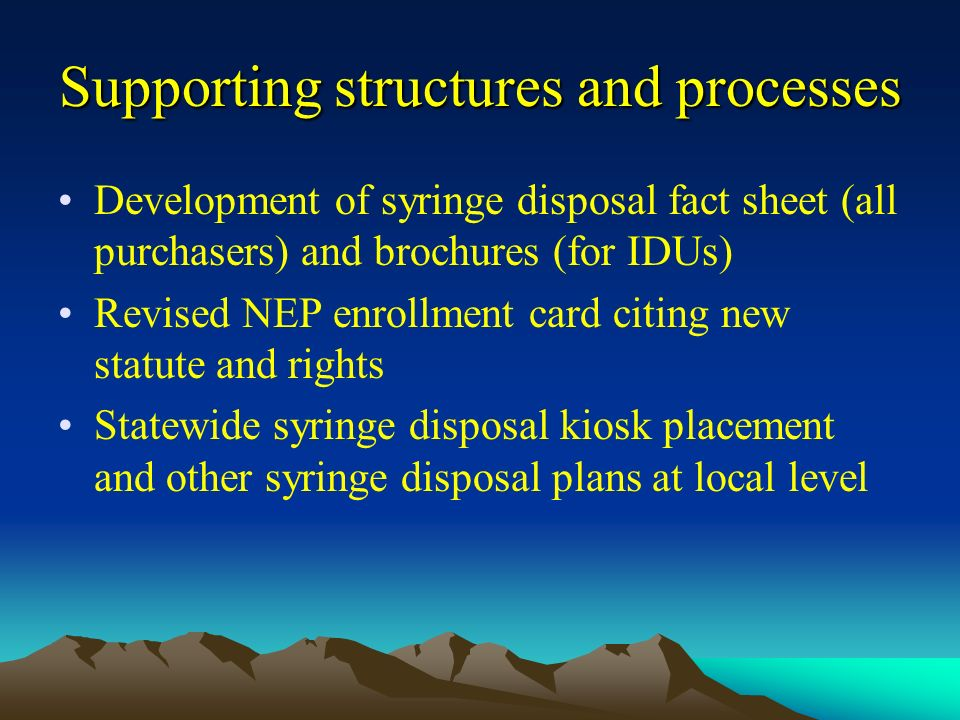 Supporting structures and processes Development of syringe disposal fact sheet (all purchasers) and brochures (for IDUs) Revised NEP enrollment card citing new statute and rights Statewide syringe disposal kiosk placement and other syringe disposal plans at local level
