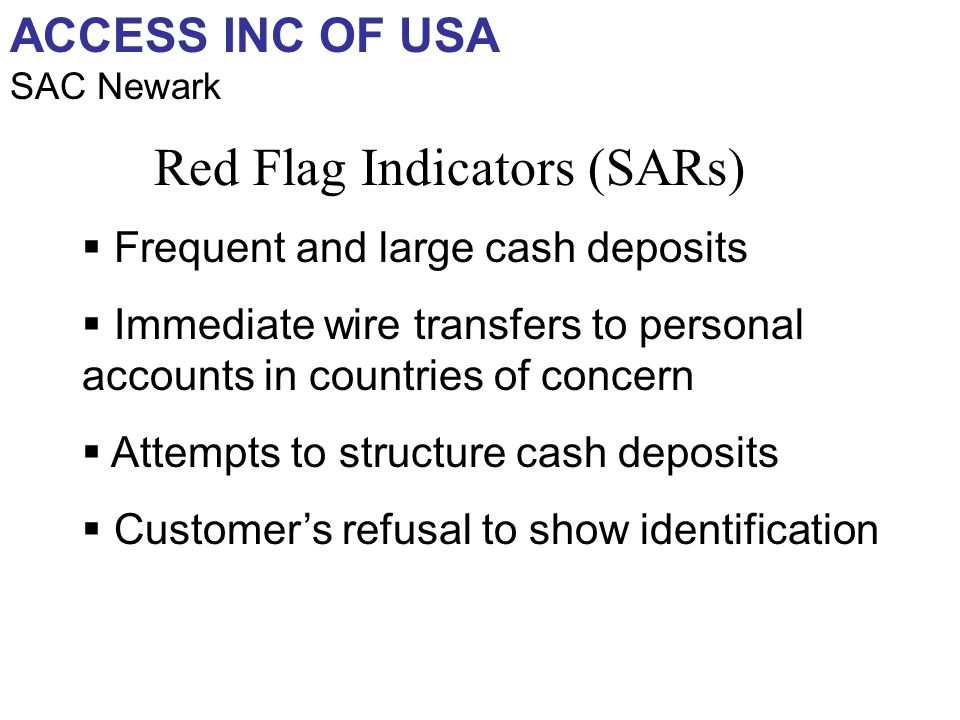 ACCESS INC OF USA SAC Newark Frequent and large cash deposits Immediate wire transfers to personal accounts in countries of concern Attempts to structure cash deposits Customers refusal to show identification Red Flag Indicators (SARs)