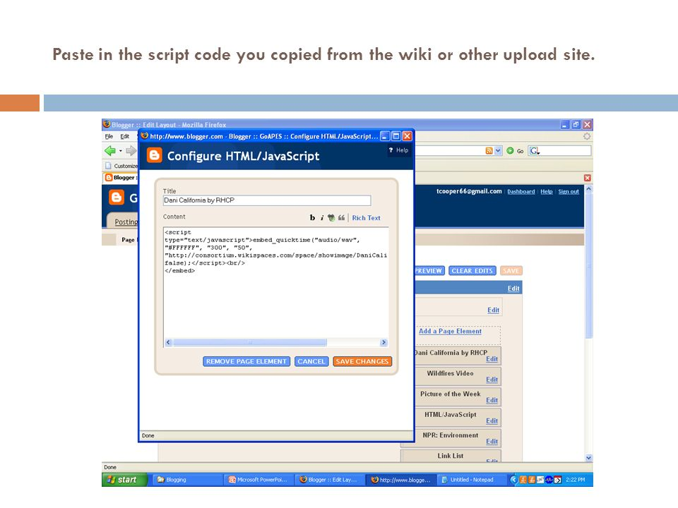 Paste in the script code you copied from the wiki or other upload site.