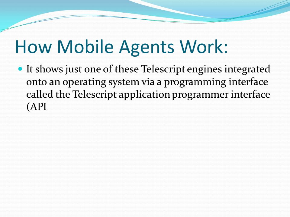 It shows just one of these Telescript engines integrated onto an operating system via a programming interface called the Telescript application programmer interface (API