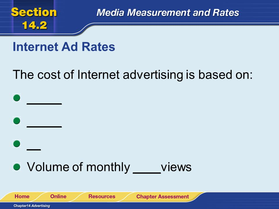 Internet Ad Rates The cost of Internet advertising is based on: _____ __ Volume of monthly ____views