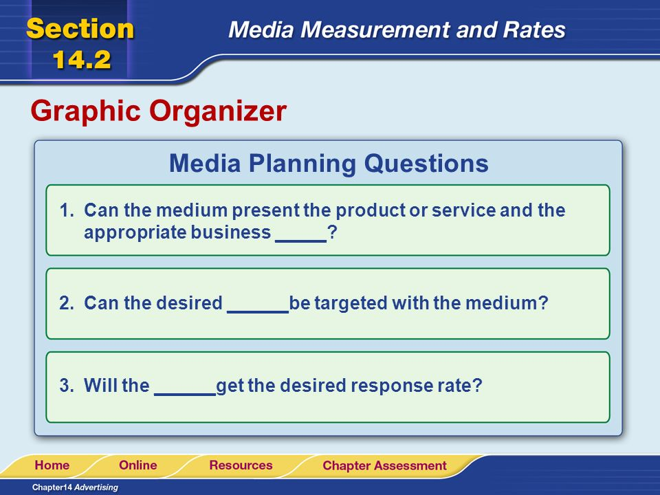 Graphic Organizer Media Planning Questions 1.Can the medium present the product or service and the appropriate business _____.
