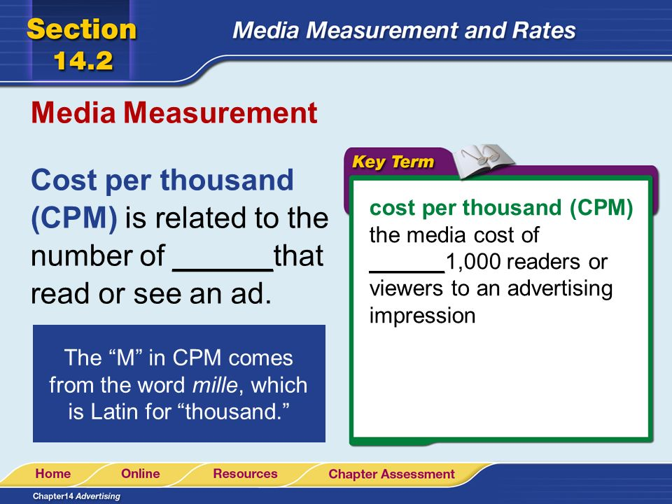 Media Measurement Cost per thousand (CPM) is related to the number of ______that read or see an ad.