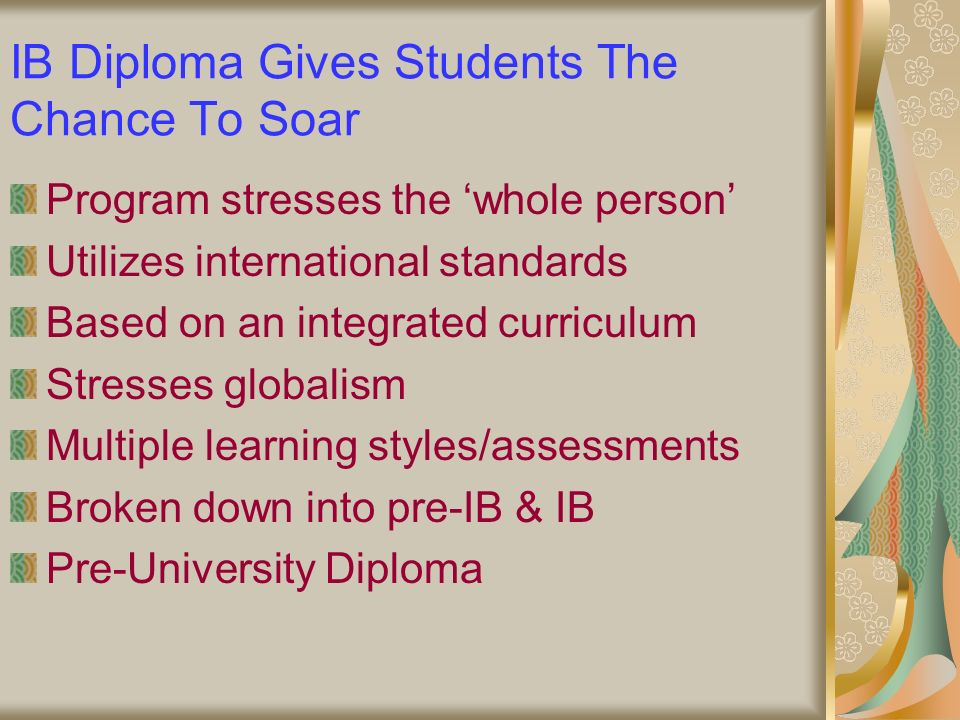 IB Diploma Gives Students The Chance To Soar Program stresses the whole person Utilizes international standards Based on an integrated curriculum Stresses globalism Multiple learning styles/assessments Broken down into pre-IB & IB Pre-University Diploma