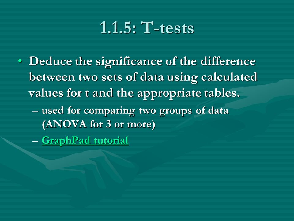1.1.5: T-tests Deduce the significance of the difference between two sets of data using calculated values for t and the appropriate tables.Deduce the significance of the difference between two sets of data using calculated values for t and the appropriate tables.