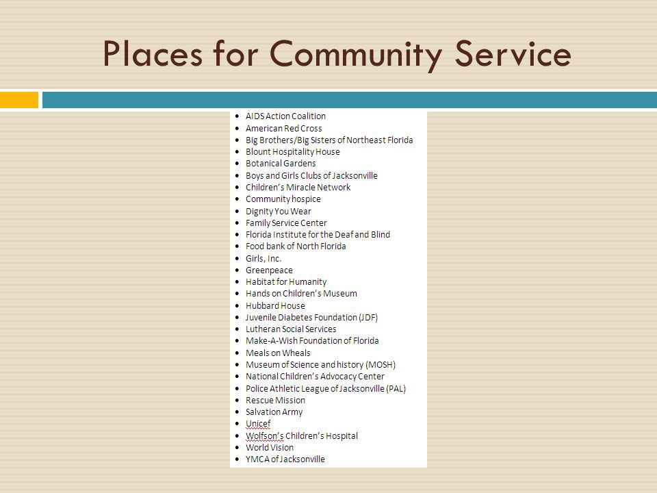 Places for Community Service