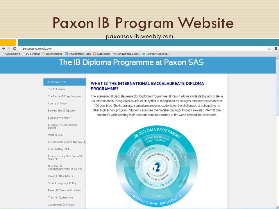Paxon IB Program Website paxonsas-ib.weebly.com