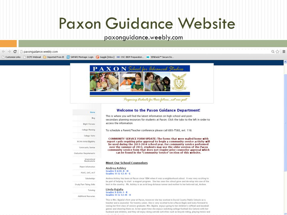 Paxon Guidance Website paxonguidance.weebly.com
