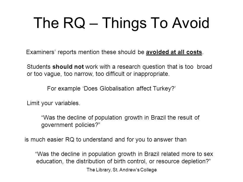 The RQ – Things To Avoid The Library, St.