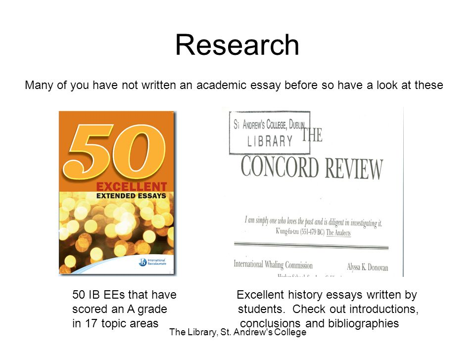Research 50 IB EEs that have Excellent history essays written by scored an A grade students.
