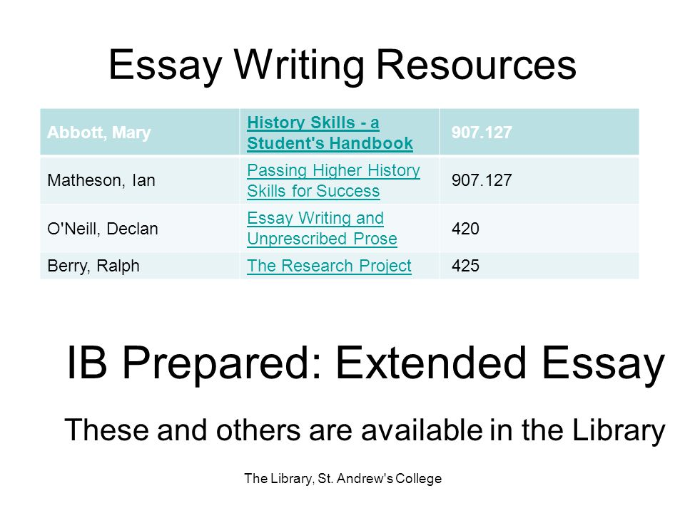Essay Writing Resources The Library, St.