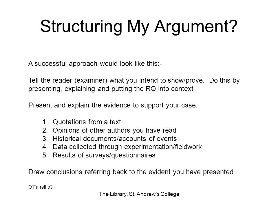 Structuring My Argument. The Library, St.
