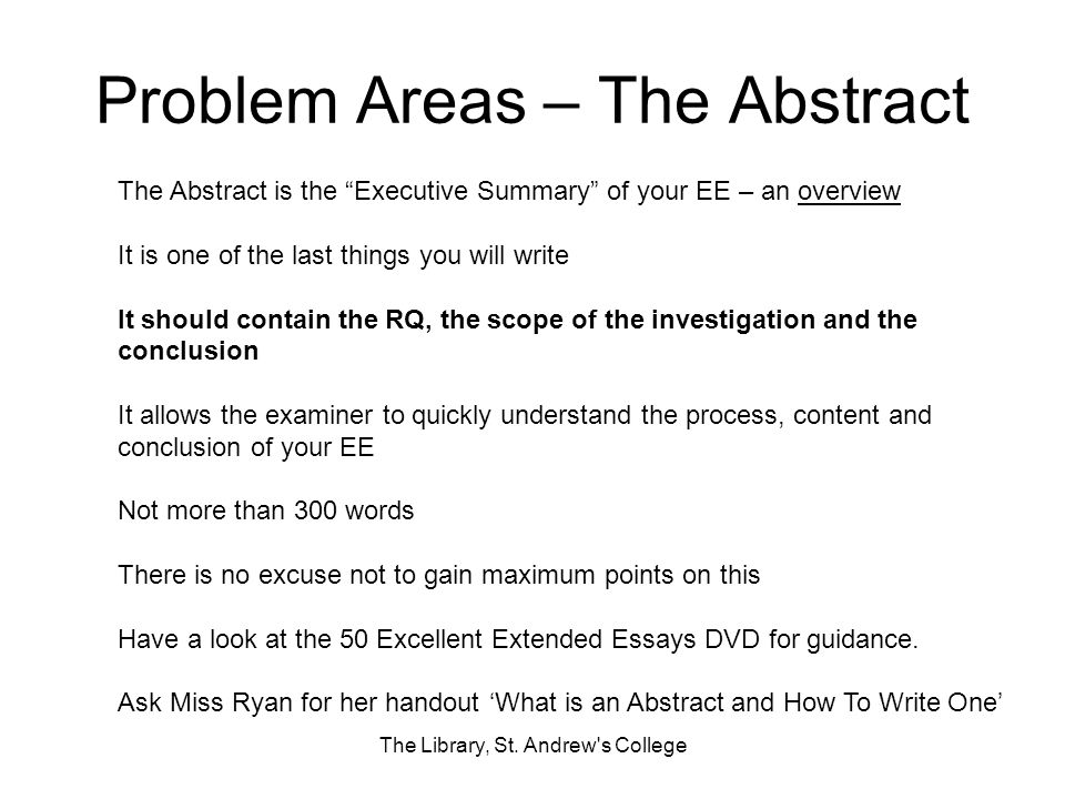 Problem Areas – The Abstract The Library, St.