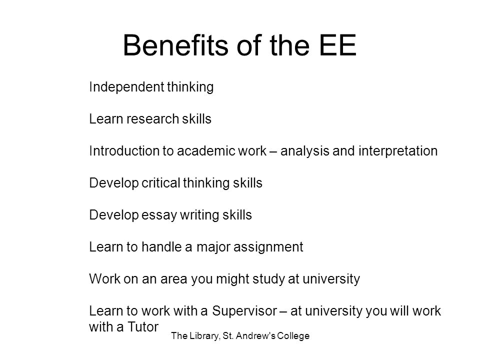 Benefits of the EE The Library, St.