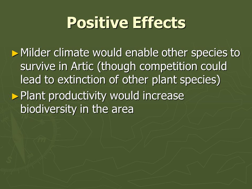 Positive Effects Milder climate would enable other species to survive in Artic (though competition could lead to extinction of other plant species) Milder climate would enable other species to survive in Artic (though competition could lead to extinction of other plant species) Plant productivity would increase biodiversity in the area Plant productivity would increase biodiversity in the area