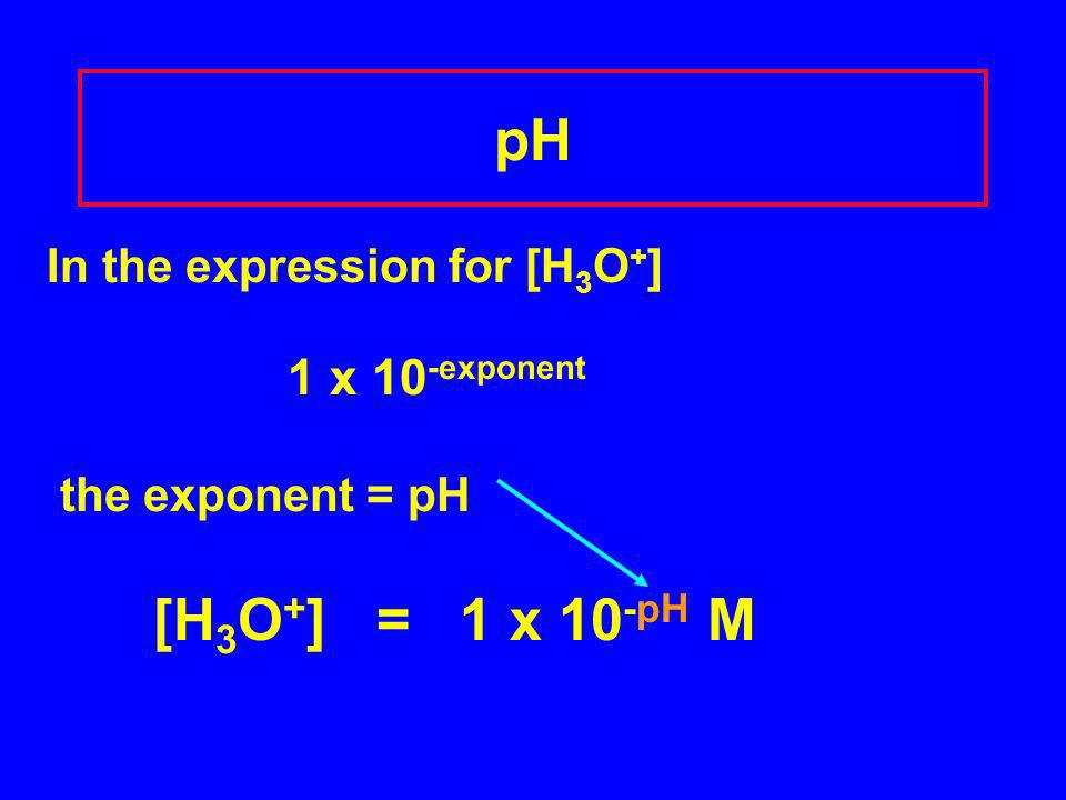 In the expression for [H 3 O + ] 1 x 10 -exponent the exponent = pH [H 3 O + ] = 1 x 10 -pH M pH