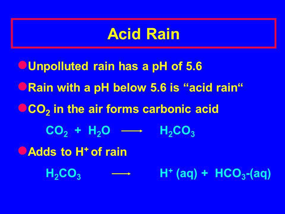 Acid Rain Unpolluted rain has a pH of 5.6 Rain with a pH below 5.6 is acid rain CO 2 in the air forms carbonic acid CO 2 + H 2 O H 2 CO 3 Adds to H + of rain H 2 CO 3 H + (aq) + HCO 3 -(aq) Formation of acid rain: 1.