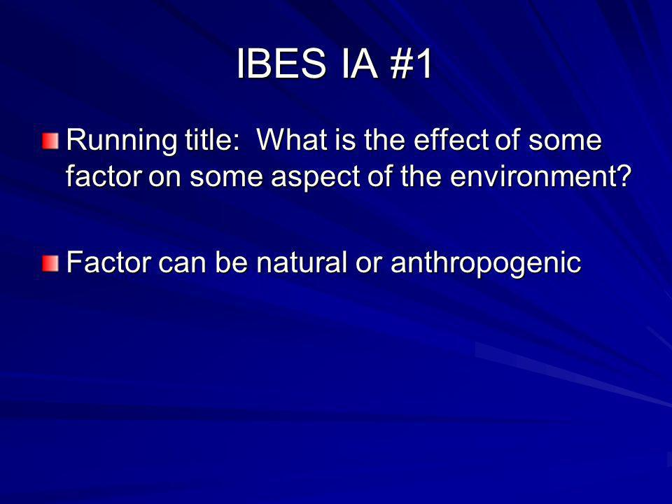 IBES IA #1 Running title: What is the effect of some factor on some aspect of the environment.