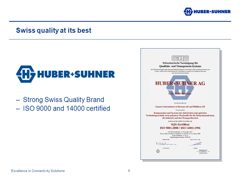 Excellence in Connectivity Solutions 6 Swiss quality at its best –Strong Swiss Quality Brand –ISO 9000 and 14000 certified
