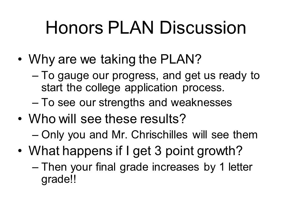 Honors PLAN Discussion Why are we taking the PLAN.