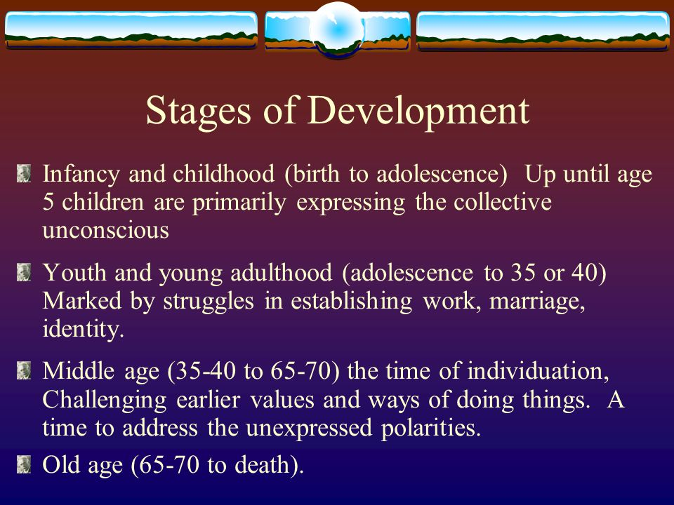 Stages of Development Infancy and childhood (birth to adolescence) Up until age 5 children are primarily expressing the collective unconscious Youth and young adulthood (adolescence to 35 or 40) Marked by struggles in establishing work, marriage, identity.