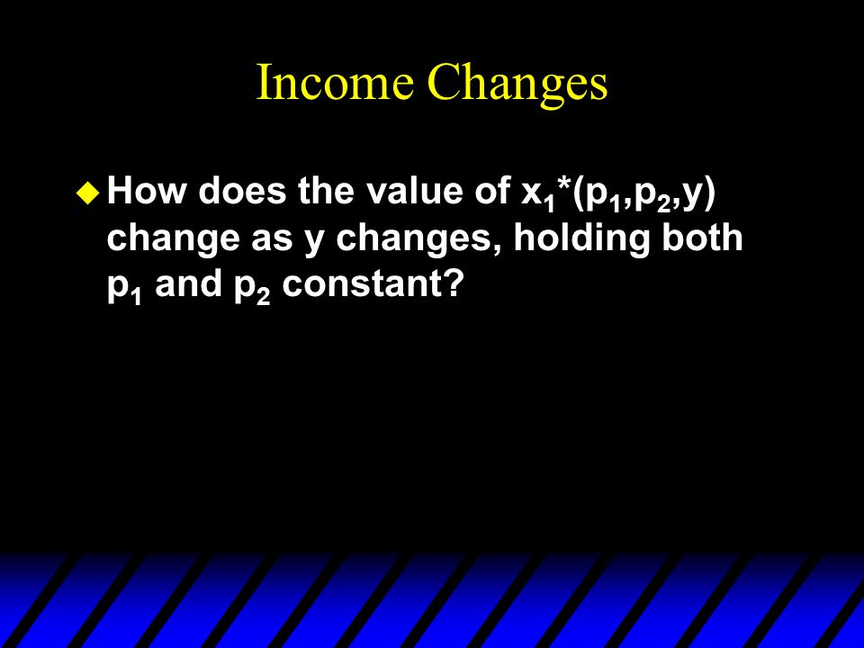Income Changes u How does the value of x 1 *(p 1,p 2,y) change as y changes, holding both p 1 and p 2 constant