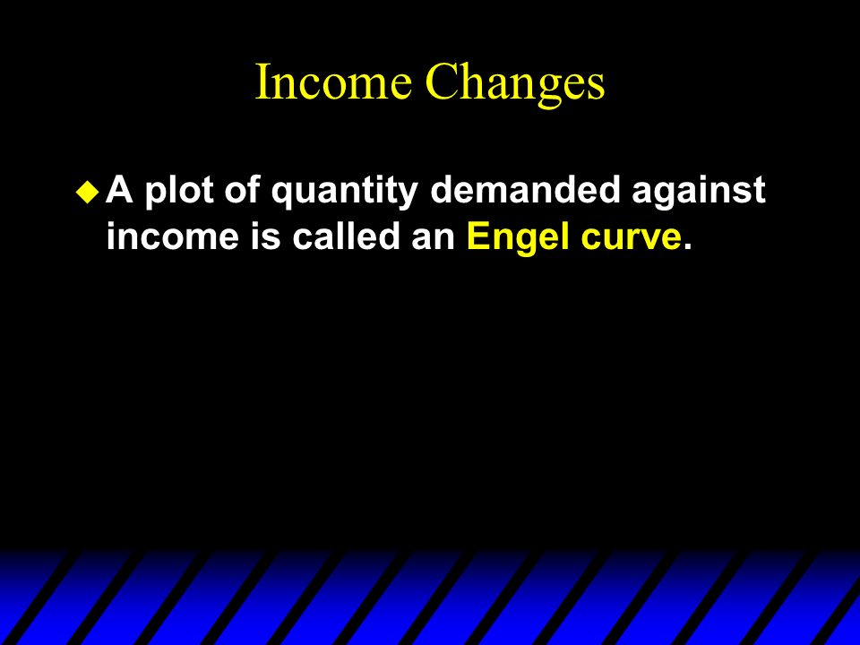 Income Changes u A plot of quantity demanded against income is called an Engel curve.