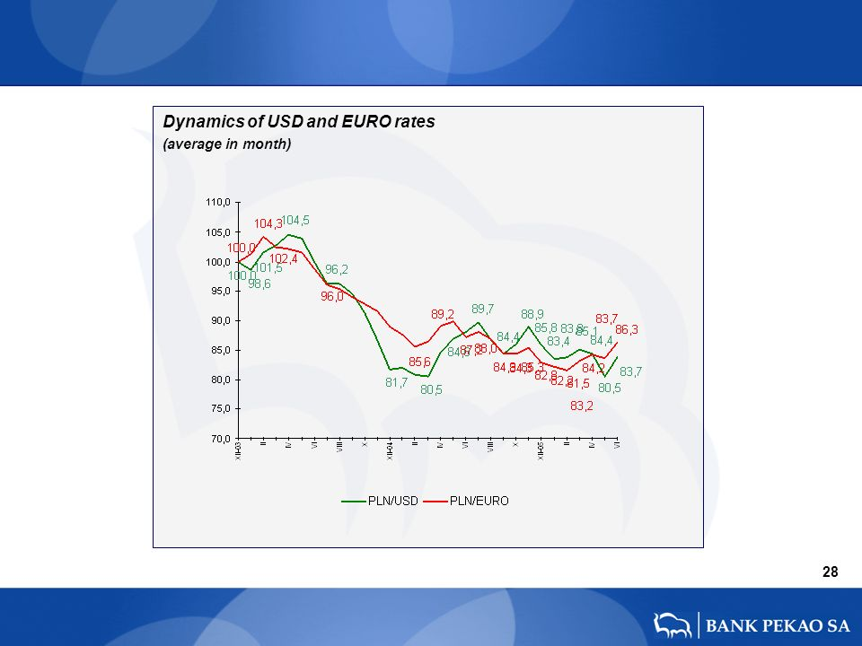 28 Dynamics of USD and EURO rates (average in month)