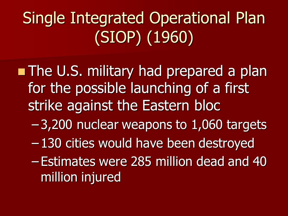 Single Integrated Operational Plan (SIOP) (1960) The U.S.