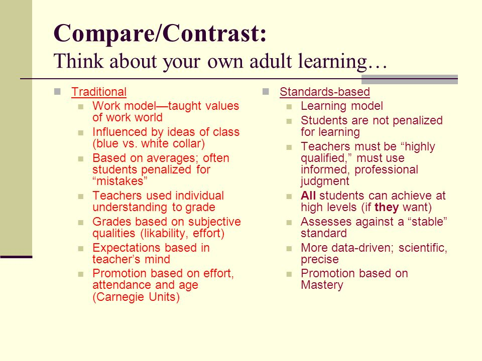 Compare/Contrast: Think about your own adult learning… Traditional Work modeltaught values of work world Influenced by ideas of class (blue vs.