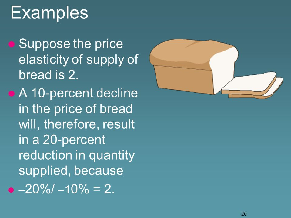20 Examples Suppose the price elasticity of supply of bread is 2.
