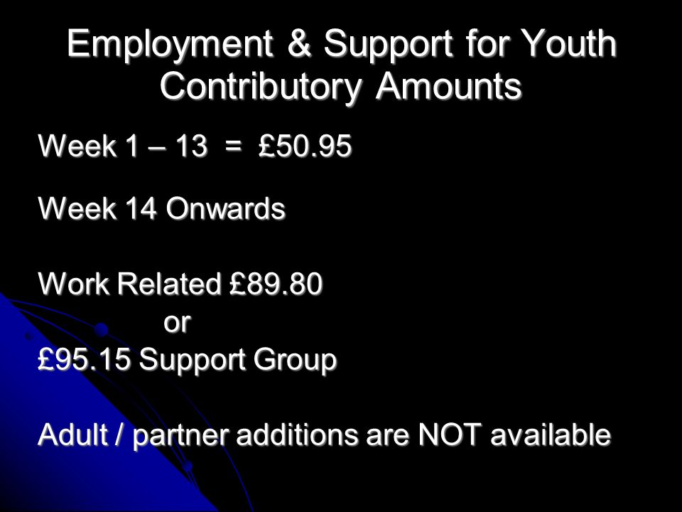 Rates: Incapacity for Youth (Pre Nov 08) Short term week 1 – 28 = £67.75 Short term high 29 – 52 = £80.15 Long Term week 52+ = £105.45 Check for any Income Support top-up Adult / partner additions are available