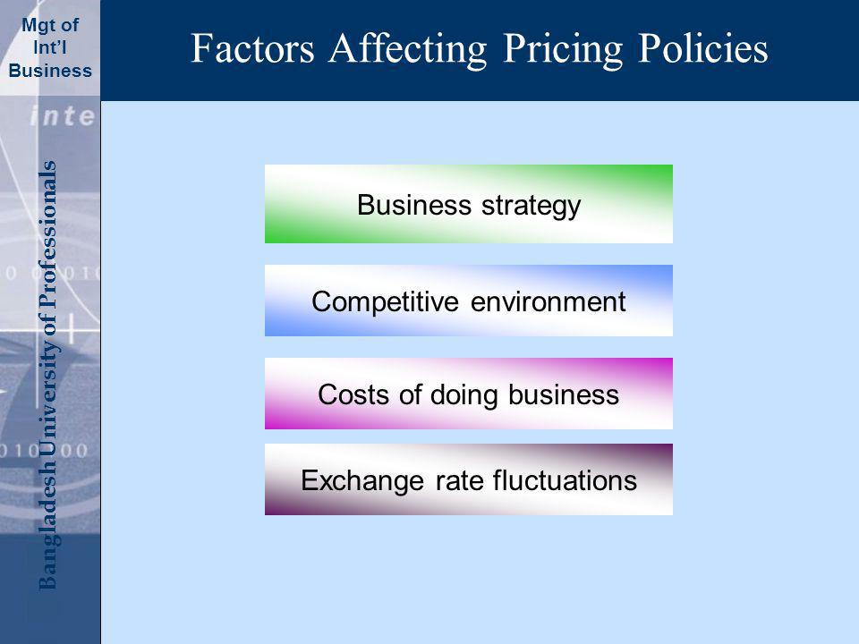 Click to edit Master title style Bangladesh University of Professionals Mgt of Intl Business Factors Affecting Pricing Policies Business strategy Competitive environment Costs of doing business Exchange rate fluctuations