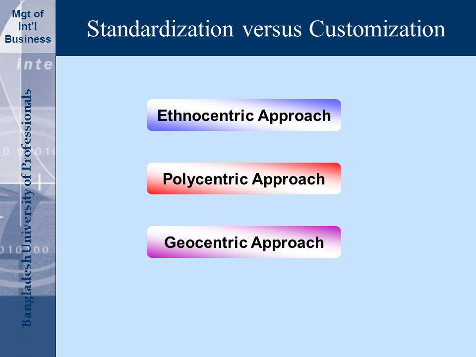 Click to edit Master title style Bangladesh University of Professionals Mgt of Intl Business Standardization versus Customization Ethnocentric Approach Polycentric Approach Geocentric Approach