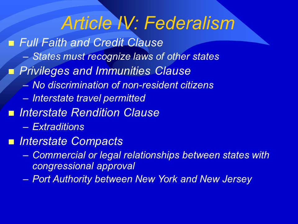 Article IV: Federalism n Full Faith and Credit Clause –States must recognize laws of other states n Privileges and Immunities Clause –No discrimination of non-resident citizens –Interstate travel permitted n Interstate Rendition Clause –Extraditions n Interstate Compacts –Commercial or legal relationships between states with congressional approval –Port Authority between New York and New Jersey