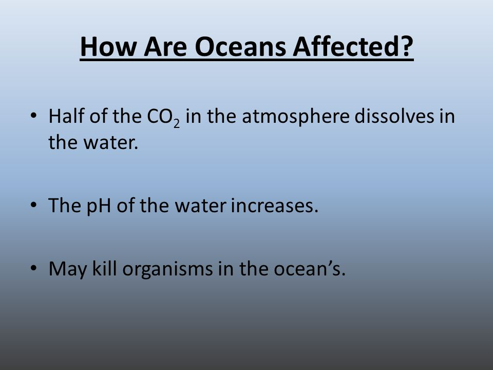How Are Oceans Affected. Half of the CO 2 in the atmosphere dissolves in the water.